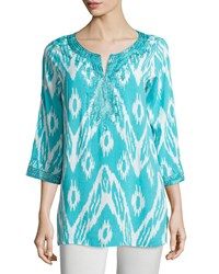 Joan Vass 3 4 Sleeve Embroidered Ikat Print Tunic Teal Ocean White
