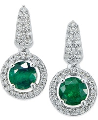 Macy's Emerald 1 5 Ct. T.W. And Diamond 1 5 Ct. T.W. Earring And Pendant Set In Sterling Silver