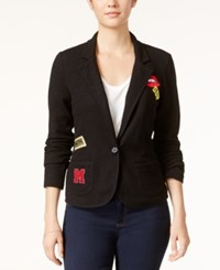 Freshman Juniors' Knit Blazer With Patches Jet Black