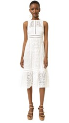 Twelfth St. By Cynthia Vincent Open Back Geo Lace Dress White