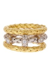 Savvy Cie 14K Yellow Gold Vermeil Italian Crystal Infinity Woven Ring Set Of 3 Metallic