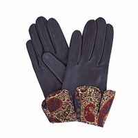 Gizelle Renee Palesa Navy Leather Gloves With Bm Liberty Tana Lawn Blue