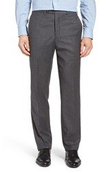 Jb Britches Men's Big And Tall J.B. Flat Front Solid Wool And Cashmere Trousers Mid Grey