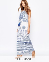 White Sand Maxi Dress With Tie Front In Mosaic Print Bluewhiteprint