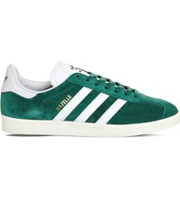 Adidas Gazelle Leather Trainers Green Vintage White