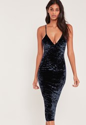 Missguided Strappy Crushed Velvet Midi Dress Navy Blue