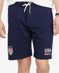 Polo Ralph Lauren Men's Usa Double Knit Drawstring Shorts French Navy Pure White