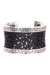 Lois Hill Sterling Silver And Genuine Leather Scroll Cutout Cuff Bracelet No Color