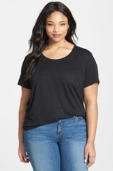 Eileen Fisher U Neck Organic Linen A Line Tee Plus Size Black