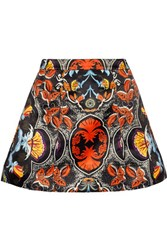 Alice Olivia Loran Printed Duchesse Satin Mini Skirt Red