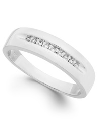 Macy's Men's Diamond Brushed Band In 10K White Gold 1 10 Ct. T.W.