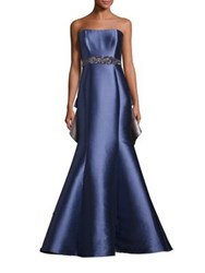 Badgley Mischka Strapless Ruffle Back Gown Blue Silver