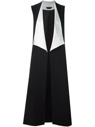 Alice Olivia Long Drape Front Vest Black