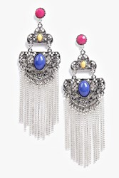 Boohoo Stone Detail Tassel Chain Earrings Silver