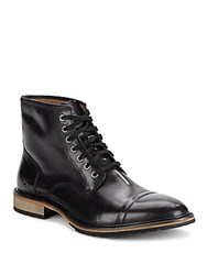 Andrew Marc New York Lace Up Leather Ankle Boots Black