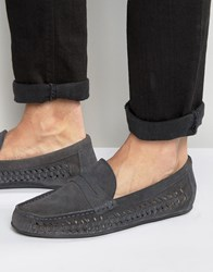 Frank Wright Leeward Woven Loafers In Navy Leather Navy Blue