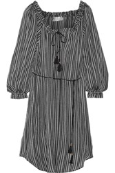 Zimmermann Pavilion Striped Cotton Gauze Dress Black