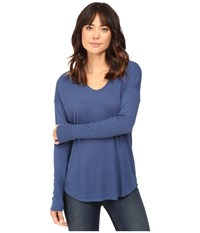 Heather Long Sleeve Rib Shirt Tail Tee Harbor Women's Long Sleeve Pullover Blue