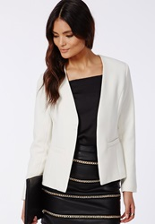 Missguided Collarless Cropped Back Tailored Blazer White
