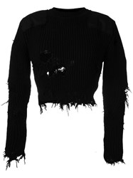 Yeezy Season 3 Destroyed Cropped Military Rib Jumper With Patches Black