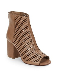 Ash Fancy Perforated Leather Peep Toe Ankle Boots Taupe