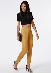 Missguided Zip Front Cigarette Trousers Mustard