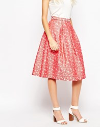 Traffic People Falling Flowers Prom Skirt In Daisy Jaquard Red