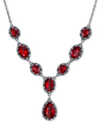 2028 Silver Tone Red Stone And Pave Lariat Necklace