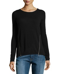 Design History Cashmere Blend Zip Detailed Sweater Black
