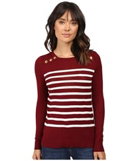 Kensie Cotton Blend Sweater Ks9k5548 Wine Combo Women's Sweater Burgundy