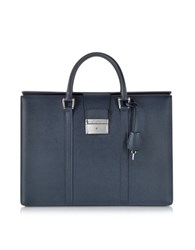 Pineider City Chic Embossed Leather Briefcase Blue