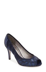 Adrianna Papell Women's 'Flaire' Peep Toe Pump Navy Fabric