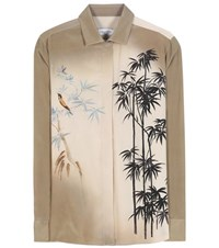 Valentino Printed Silk Shirt Green