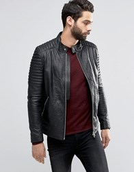 Religion Leather Jacket With Biker Sleeve Detail Black