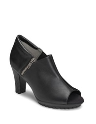Aerosoles Bird Cage Faux Leather Booties Black