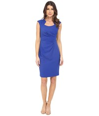 Calvin Klein Cap Sleeve Ruched Sheath Dress Atlantis Women's Dress Blue