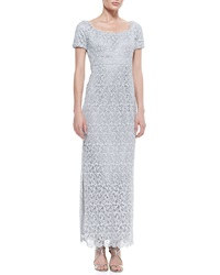 Laundry By Shelli Segal Short Sleeve Lace Column Gown Silver