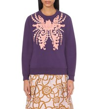 Dries Van Noten Hoosiere Embellished Cotton Jersey Sweatshirt Purple