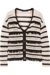Karl Lagerfeld Dana Striped Open Knit Cardigan Neutral