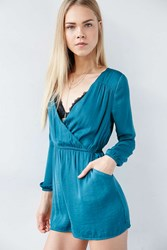 Alice And Uo Demy Long Sleeve Satin Romper Teal