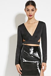 Forever 21 Rise Of Dawn Cutout Crop Top Black