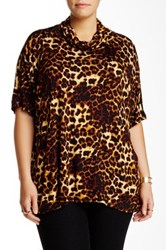 Bobeau Cowl Neck Animal Print Oversized Tunic Plus Size Multi