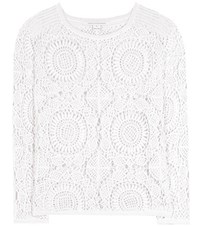 Diane Von Furstenberg Nola Crochet Knit Cotton Sweater White