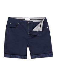 Eleven Paris Regular Fit Floral Chino Shorts With Turn Up Hem Navy