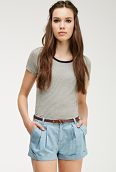 Forever 21 Pleated Chambray Shorts Denim Washed