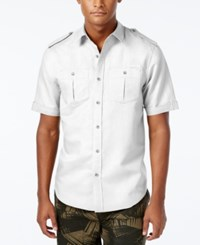 Sean John Men's Big And Tall Solid Short Sleeve Shirt Bright White