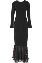 By Malene Birger Parsec Embellished Crepe And Chiffon Gown Black
