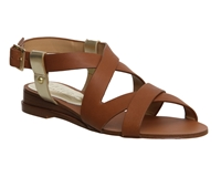 Office Olivier Wedge Leather Sandals Tan