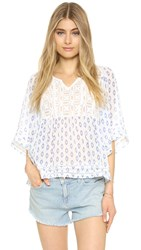 Cupcakes And Cashmere Drea Printed Chiffon Lace Top Diamond