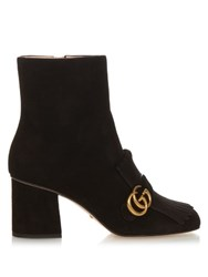 Gucci Marmont Fringed Suede Boots Black